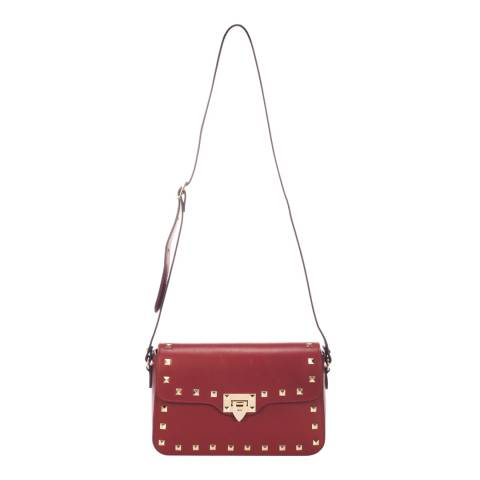 Lisa Minardi Red Leather Studded Shoulder Bag