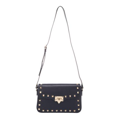Lisa Minardi Dark Blue Leather Studded Shoulder Bag