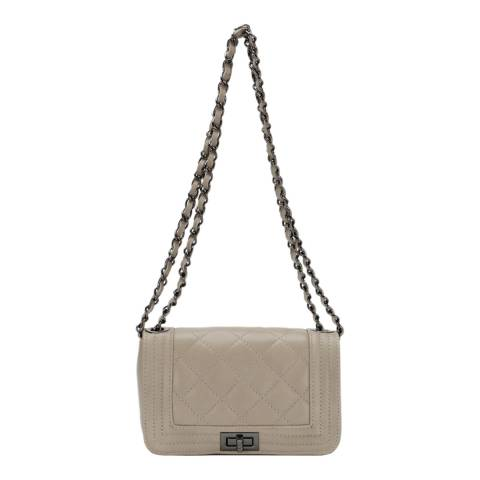Giulia Massari Taupe Leather Shoulder Bag