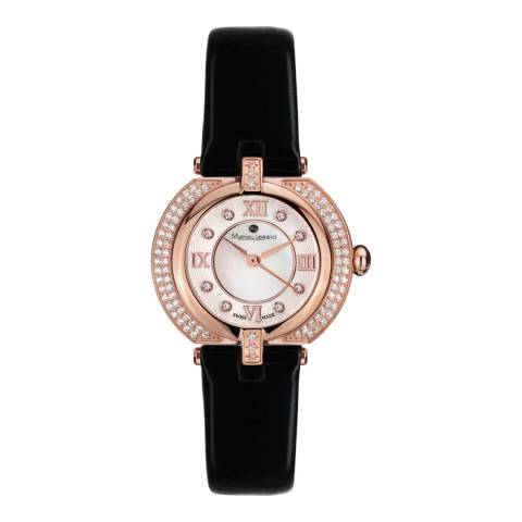 Mathieu Legrand Women's Rose Gold/Black Mother of Pearl/Crystal Mille Cailloux Watch