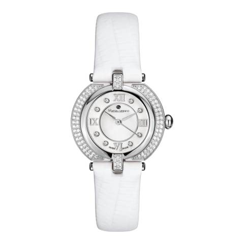 Mathieu Legrand Women's Silver/White Mother of Pearl/Crystal Mille Cailloux Watch