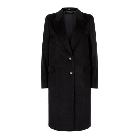 Jaeger Black City Slim Boyfriend Wool Coat