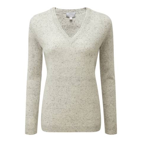 Pure Collection Heather Grey Double V Neck Cashmere Jumper