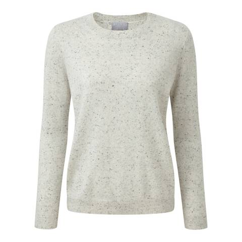Pure Collection Heather Grey Relaxed Crew Neck Cashmere Jumper