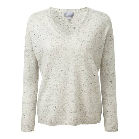 Pure Collection Heather Grey Relaxed V Neck Cashmere Jumper