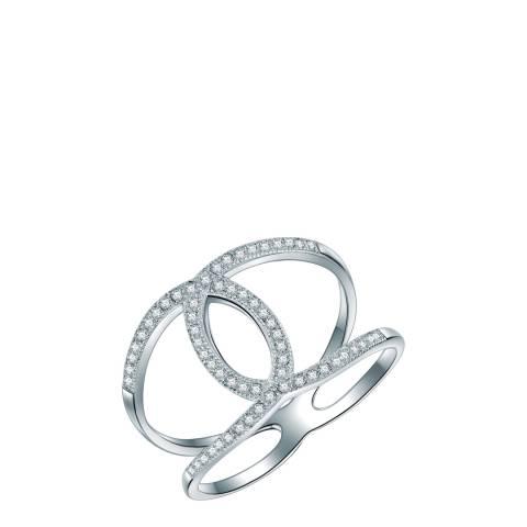 Saint Francis Crystals Silver Interlinking Ring