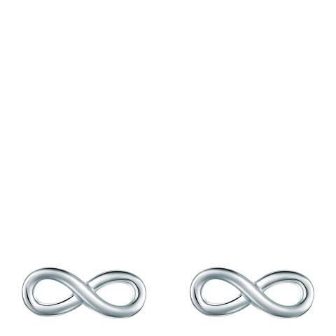 Saint Francis Crystals Silver Infinity Stud Earrings