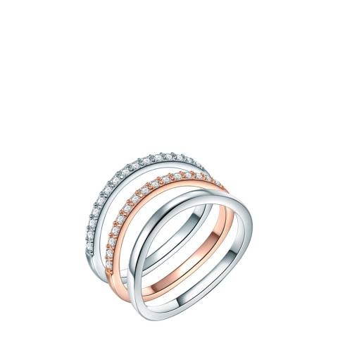 Saint Francis Crystals Silver/Rose Gold Band Rings Set of Three