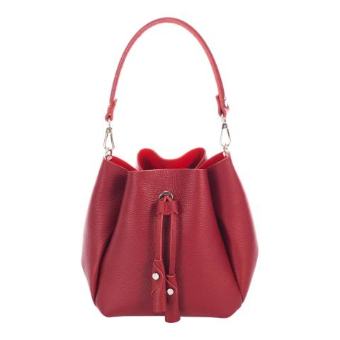 Giorgio Costa Red Leather Bucket Bag
