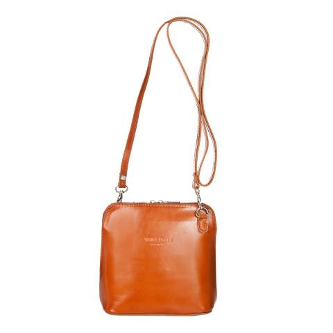 Giorgio Costa Cognac Polished Leather Crossbody