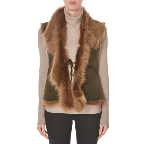 Shearling Boutique Olive Beige Sleeveless Gilet
