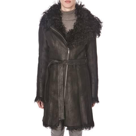 Shearling Boutique Black Curly Long Sheepskin Coat