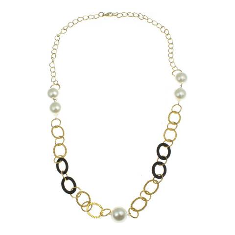Liv Oliver Gold Multi Link Pearl Necklace
