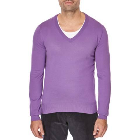 Boss by Hugo Boss Medium Purple Lieto V Neck Cotton Jumper
