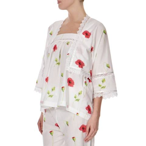 Cottonreal White/Raspberry Poppy Floral Bed Jacket