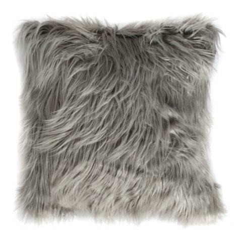 Gallery Silver Mongolian Faux Fur Cushion 45x45cm