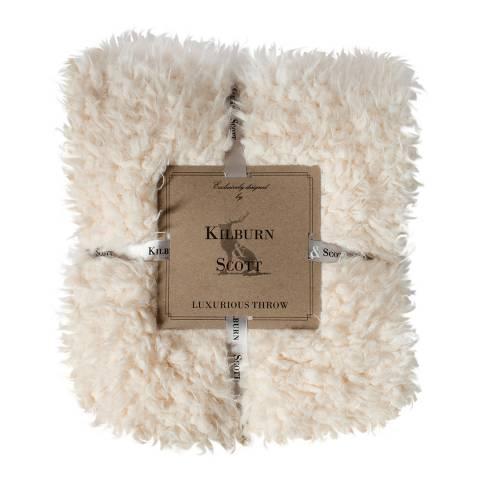 Kilburn & Scott Cream Sherpa Lined Faux Fur Throw 130x170cm