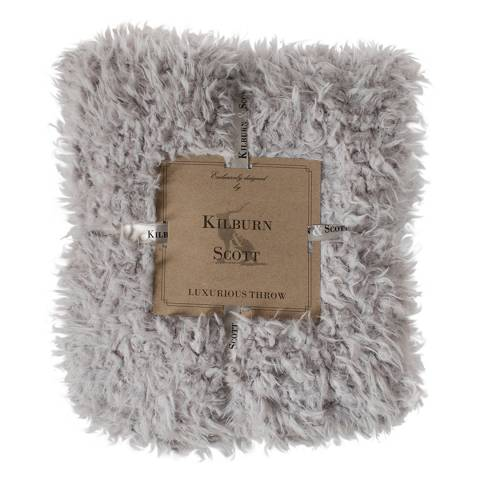 Kilburn & Scott Grey Sherpa Lined Faux Fur Throw 130x170cm