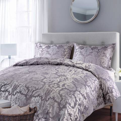 Parisian House Grey Glamour Jaquard Quilt Kingsize Duvet Cover Set