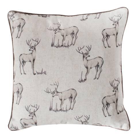 Kilburn & Scott Natural All Over Stag Cushion 45x45cm