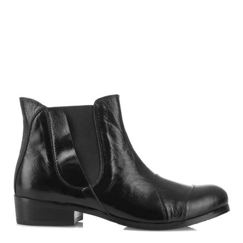 Yull Black Leather Fulham Ankle Boots