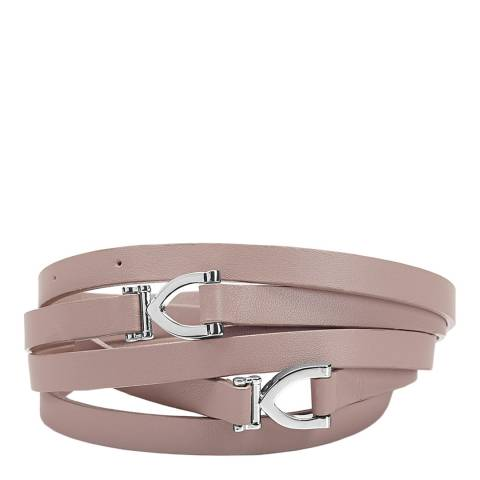 Aspinal of London Nude Pink Leather Stirrup Skinny Belt S/M