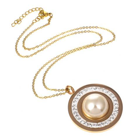 White label by Liv Oliver Gold Pearl and Crystal Disc Pendant Necklace