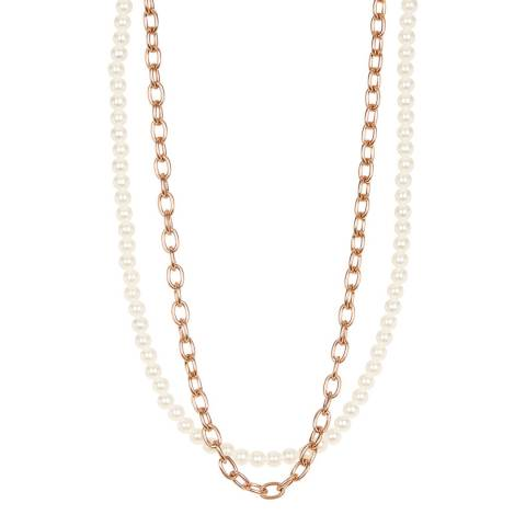 White label by Liv Oliver Rose Gold Pearl Layered Necklace