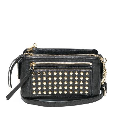 027f380fad68 Michael Kors Black Leather Studded Mitchell Messenger Bag