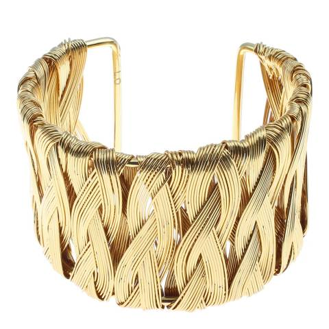 Chloe Collection by Liv Oliver Gold Basket Weave Cuff