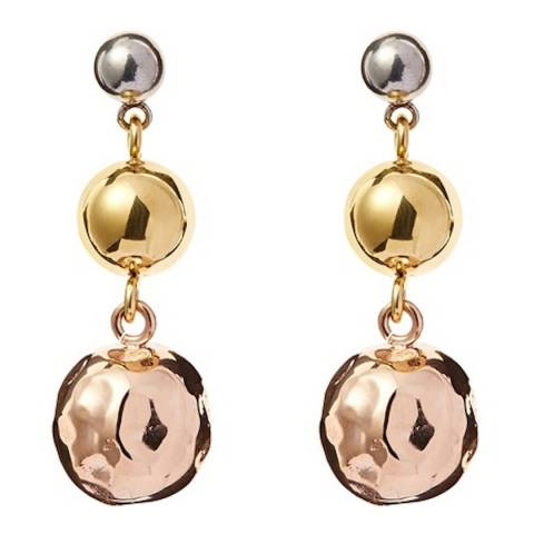 Chloe Collection by Liv Oliver Tri Colour Hammered Drop Earrings