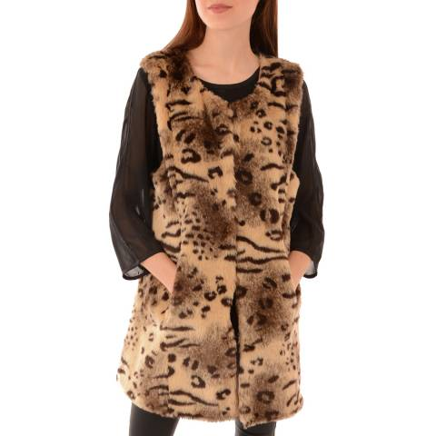 JayLey Collection Faux Fur  Animal Print Gilet