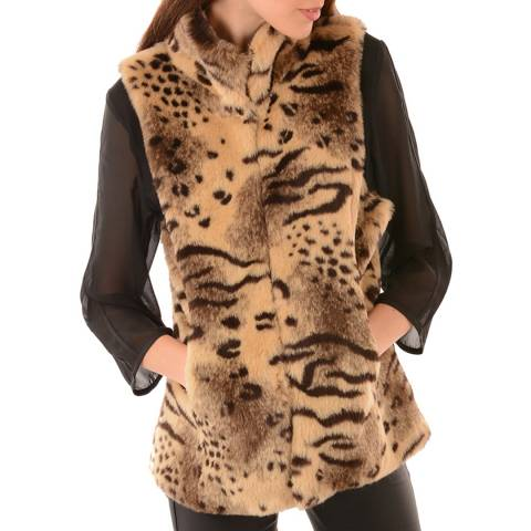 JayLey Collection Animal Faux Fur Gilet