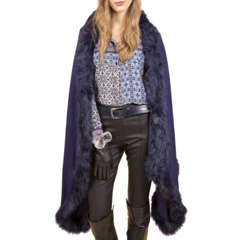 JayLey Collection Faux Fur Cashmere Blend Wrap Blue