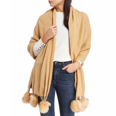 JayLey Collection Cashmere Blend Faux Fur Pom Pom Wrap Mocha