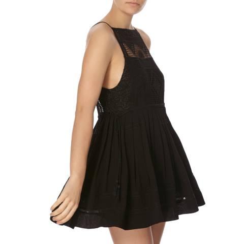 Free People Black Emily Crochet Bodice Dress