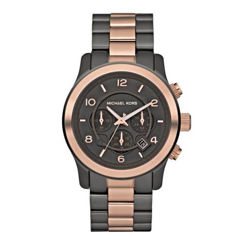 Michael Kors Men's Rose Gold/Black Stainless Steel Runway Watch