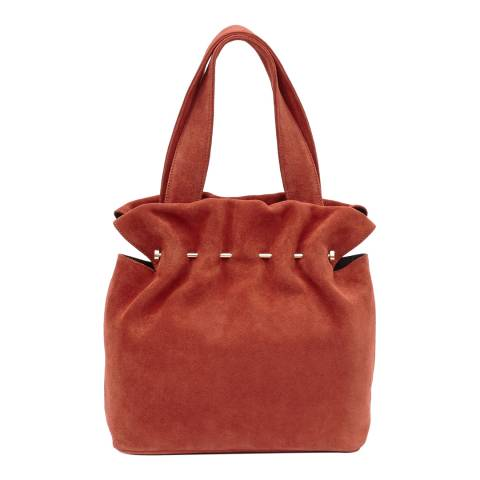 Reiss Rust Red Leather Cassius Metal Bar Tote Bag
