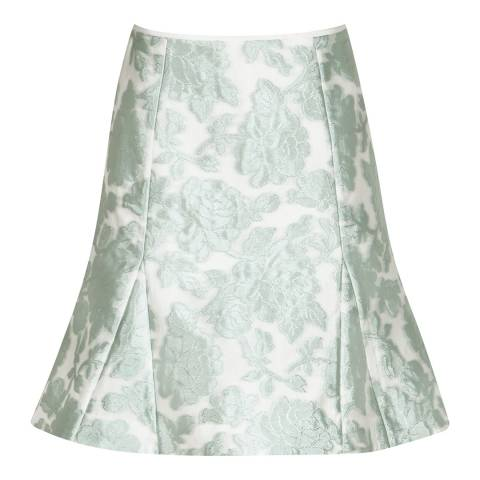 Reiss Mint Green Jacquard Tulip Skirt