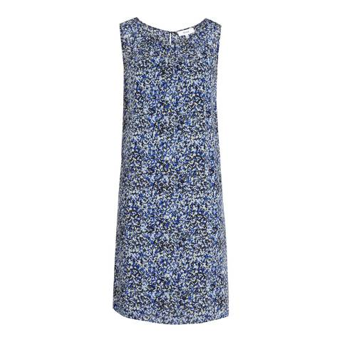 Reiss Multi Blue Lacey Printed Silk Dress