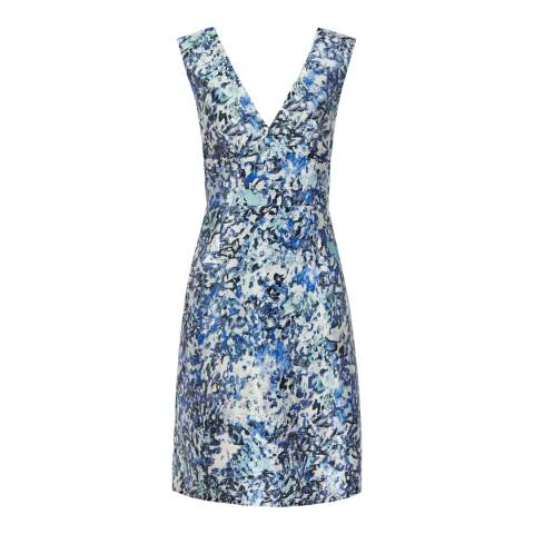 Reiss Ice Blue Alium Floral Printed Dress