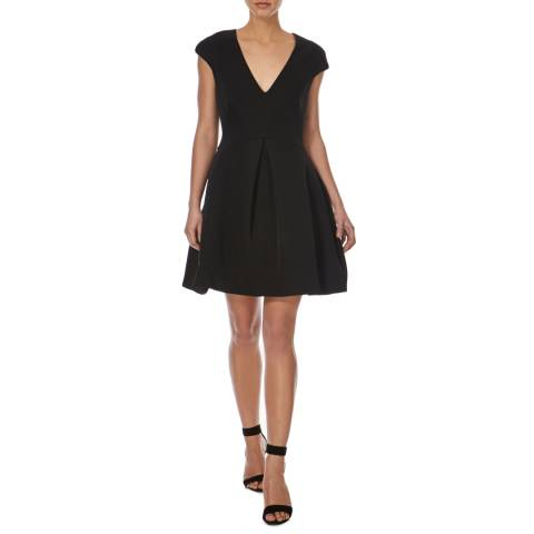Halston Heritage Black Cap-Sleeve Structure Dress with Cutout Back