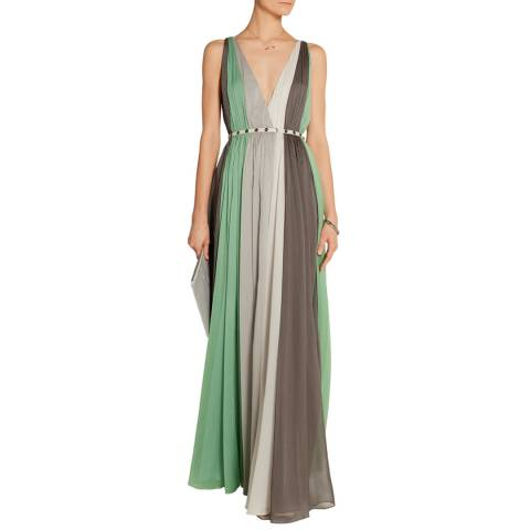 Halston Heritage Meadow Multi Deep V Neck Chiffon Gown