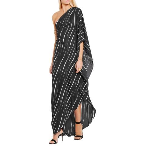 Halston Heritage Black Folded One Sleeve Asymmetric Neck Side Split Gown