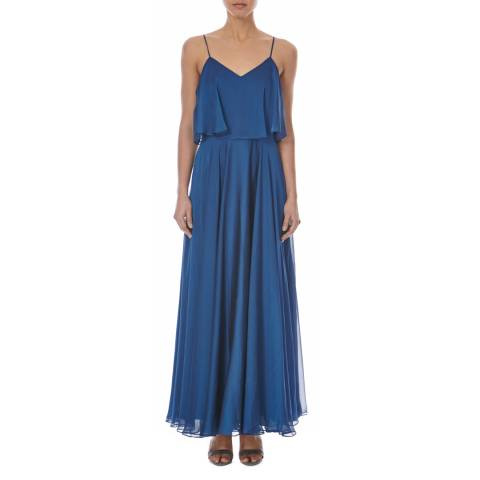 Halston Heritage Blue Irridescent Chiffon V Neck Dress