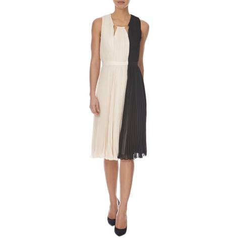 Halston Heritage Black and Cream Arch Ring Neck Pleated Dress
