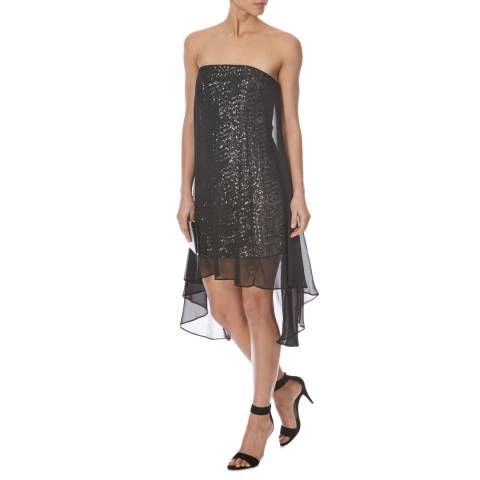 Halston Heritage Black Strapless Sequin Dress