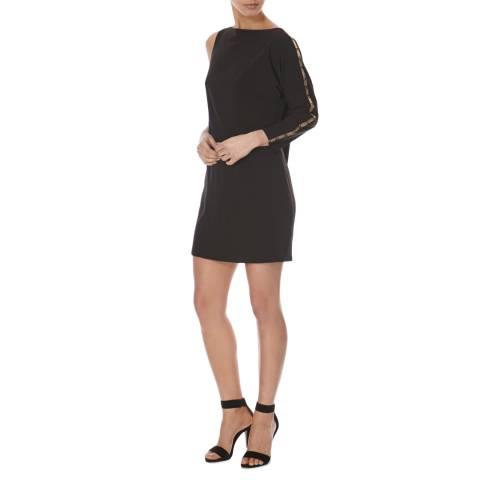 Halston Heritage Black Asymmetric Sleeve Hardware Detail Dress
