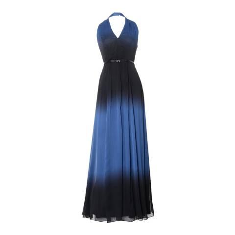 Halston Heritage Blue Ombre Halter Neck Chiffon Gown