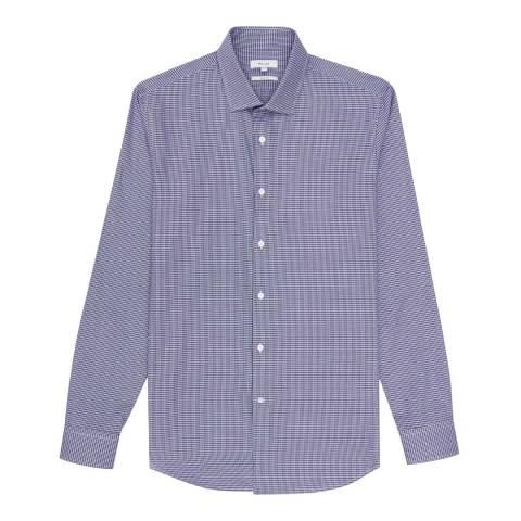 Reiss Blue Cotton Clich Houndstooth Slim Fit Shirt